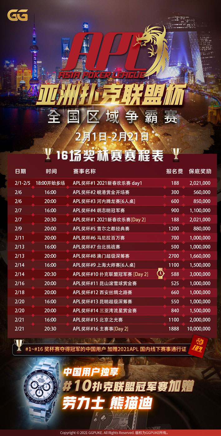 APL亚洲扑克联盟杯 WPT合作伙伴GG扑克就在2月开打 赛程表
