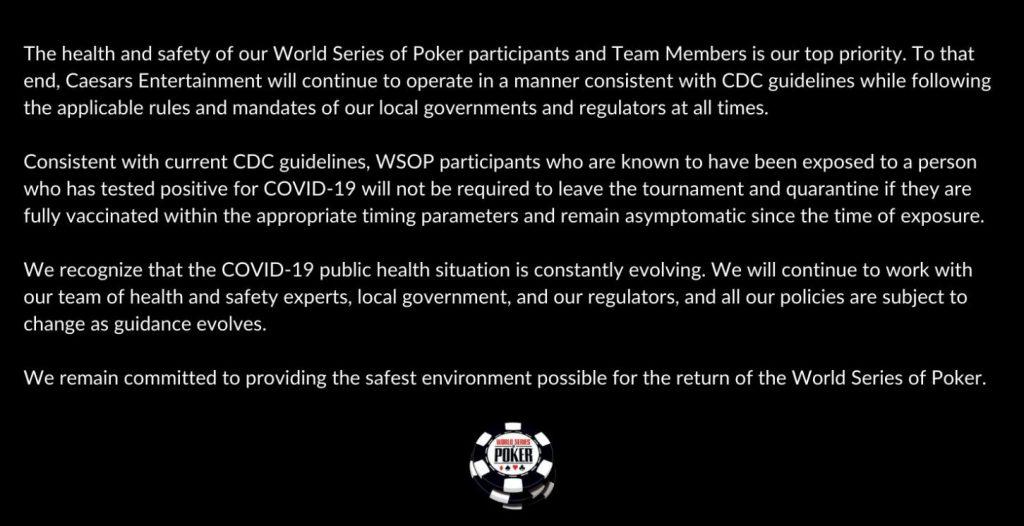WSOP 终于开口说话了 无症状、接种疫苗的选手将不会被除名
